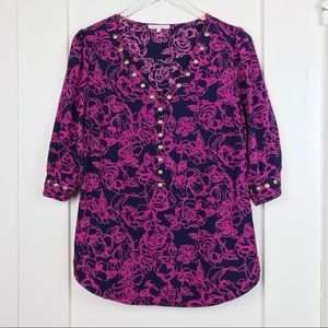 41 Hawthorn Pink & Navy Studded 3/4 Sleeve Top L